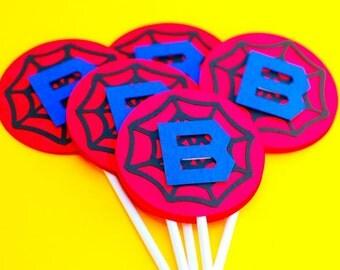 Custom Spiderman Inspired Cupcake Toppers