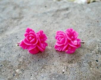 Hot Pink Blossom Clip On Earrings --regular post option