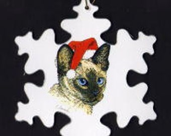 Siamese Cat with Santa hat Christmas ornament