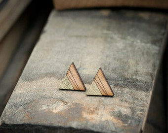 SOLD OUT - Triangle Stud Earrings with Gold Corner Accent