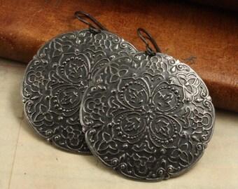 Boho Style Hand Rendered Artisan Earrings - Vintaj Arte Metal OS