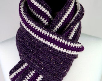 Plum - Superfine Alpaca and Tweed Merino Wool, Extra Long Handmade Crochet Scarf, Super Warm, Unisex