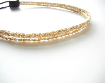 White and Gold Double Strand Braided Headband
