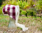 Maroon and Cream Cotton 6 Month Bonnet with Vintage Lace: Clara (Introductory Sale)