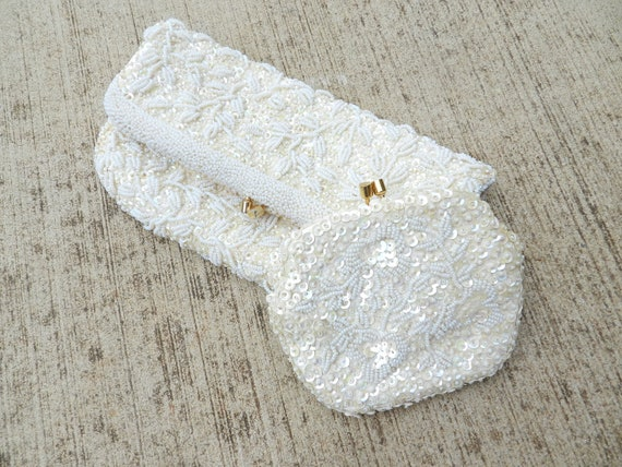 50's BEADED CLUTCH and Coin Purse - Fully Beaded / Fold Over Design / Iridescent Sequins / Wedding / Prom / Bridesmaid / Special Occasion