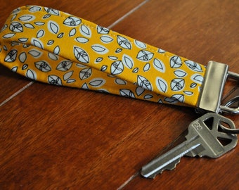 Key Fob - Key Chain - Fobskey - Fabric Key Fob - Robert Kaufman's Dill Blossom