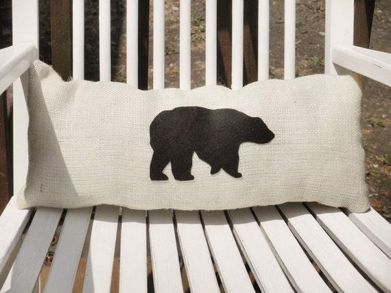 "20"" x 8"" Burlap Bear Pillow- Wildlife Collection-Choose Your Colors-Long Pillow-Rustic/Country/Woodland/Primitive-Cabin Decor-Home Decor"