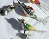 Vintage Glass Bird Ornament - 4 included - Christmas - Feather Tree Clip On