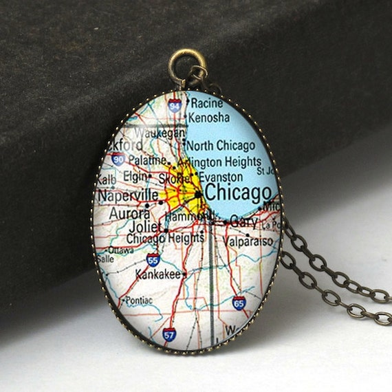 chicago map necklace chicago jewelry michigan map by