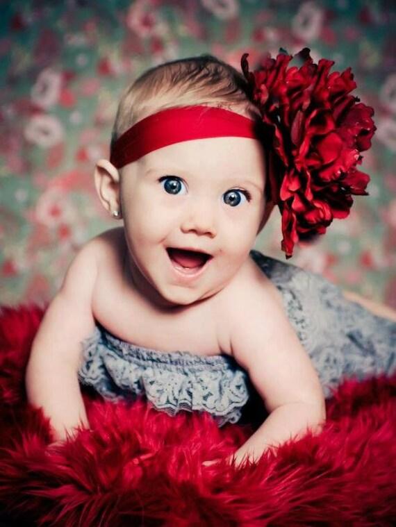 Deep Red Mum Silk Flower Headband Newborn Photography Prop Infant Headband
