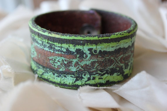 Hand Painted Distressed Vintage Hand Tooled Leather Cuff Bracelet - Rustic- Green- Brown-  Reclaimed- Upcycled- OOAK