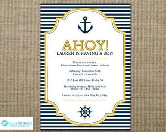 Nautical Baby Shower Invitation - Nautical Invitation - Anchor - Nautical Printable - Ahoy - Sail - Boy Baby Shower - Girl - Yellow - Navy