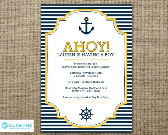 nautical baby shower invitation nautical invitation anchor, Baby shower invitations
