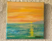 """Sunset on the Beach - Version 2 - Original oil painting on canvas - Size 7"""" x 7"""""""