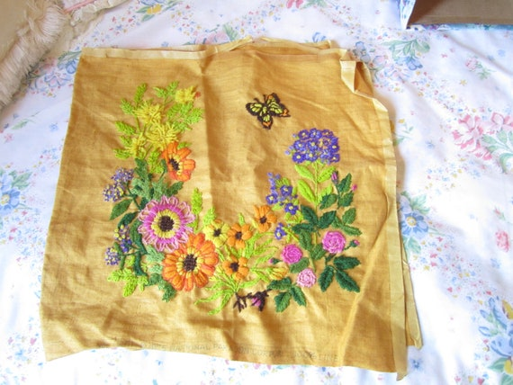 1/2 PRICE SALE....100%  Linen , Pretty embroidered  flowers with butterflys.1975  National Paragon Corporation, for your creations.