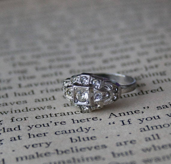 Art Deco Ring - Engagement Style Ring - 1920s Jewelry - Clear Glass Jewel Ring - Sterling Silver -Step Up Style