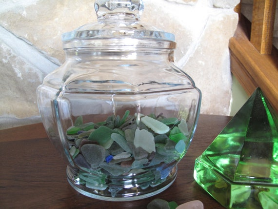Hexagonal Glass Canister with Lid, Large Glass Jar, Lid, Clear, Storage, Display, Terrarium