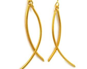 Gold Stick Earrings ,Long Gold Earring, Curved Stick Dangles Artisan Handmade by Sheri Beryl