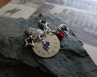Handmade Black dagger brotherhood Rehvenge inspired keychain or bag charm, stamped metal, Lover Avenged