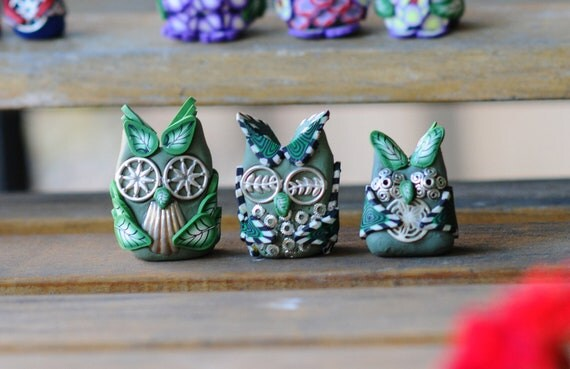 Owl Family Miniature, White, Black, Green, Silver toned Trinkets, Polymer Clay
