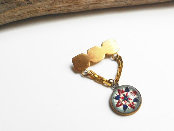Antique glass intaglio, reverse painted chatelaine brooch- nautical compass antique pin