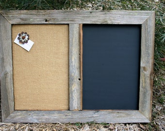 "30x22"" Barn Wood  Framed Chalk Board & Cork board"