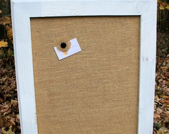 "22x26"" White Vintage Frame with burlap Cork Board"