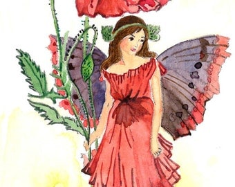 ACEO Limited Edition 9/25- The Poppy fairy inspired by CM Barker,  in watercolor