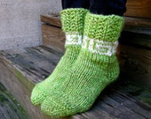 READY-TO-SHIP Green soft cozy warm hand knitted socks with Greek pattern