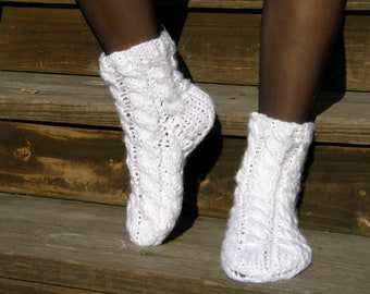 READY-TO-SHIP Hand - knitted White Soft Socks
