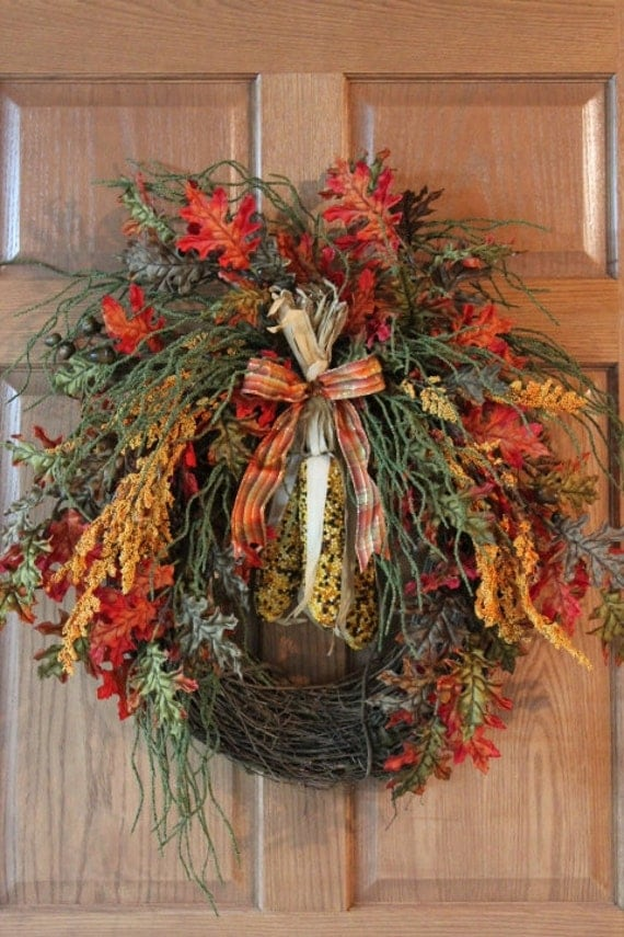 Items similar to autumn front door wreath beaded indian for Front door decoration indian style