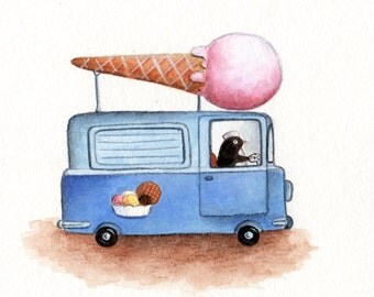 Nursery Art, Toy Ice Cream Truck, print from an original watercolor illustration