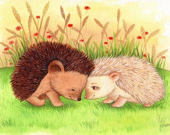 Hedgehogs in Love, Art Print, Baby's Bedroom Illustration, Nursery Decor, Baby Gift, Baby Nursery Art Print,, Cute Art, Watercolor