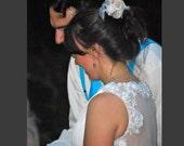 Custom make Vintage Wedding Dress A LINE Bridal Gown Bridesmaid Lace Flower Keyhole Backless Organza  Deep V Neck Chiffon Evening Prom Dress
