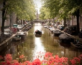 Extra Large Wall Art-Amsterdam Photo-Canal Houses-Boat Ride-Red Flowers-Home Decor-Travel Photography-Artwork-20x30