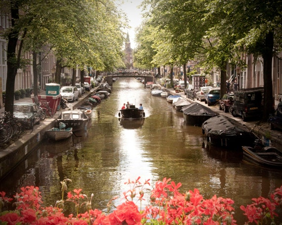 Large Wall Art-Amsterdam Photography-Boat Ride-Canal Houses-Red Flowers-Vintage Style Travel Photography-16x20
