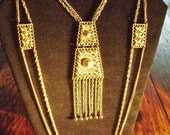 Heavy gold plated Masterpiece of a necklace.  Vintage 70's.  Not signed.