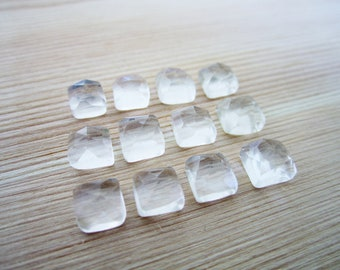 GCF-1245 - Crystal Quartz Faceted Cabochon - 6mm Square Gemstone - AA Quality - 2 Cabs