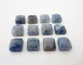 GCF-1258 - Blue Jade - 8mm Square Faceted Rose Cut Cabochon - 1 Cab