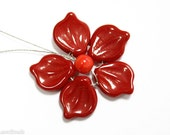 Red Czech Leaves 14mm (16) Opaque Pressed Glass Bead Leaf Flower Petal Spring last