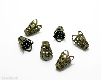 Bronze Bead Cone 16mm (20) Antiqued Metal Caps Filigree last