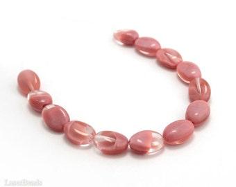 Pink Czech Beads 15mm (10) Flat Oval Pressed Milky Swirl Glass Pale Orange Peach Apricot Emberglow