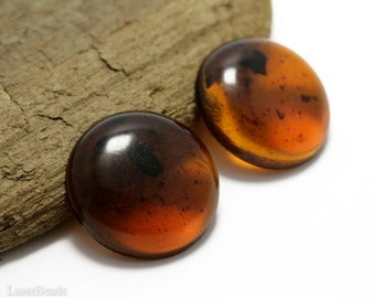 Acrylic Cabochon 23mm (4) Flat Round Plastic Amber Topaz Brown