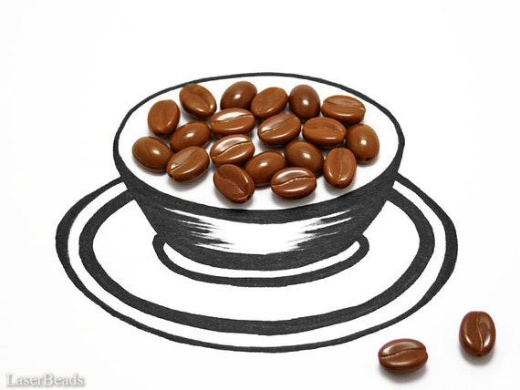 Brown Coffee Beans Czech Beads 10mm (30) Opaque Pressed Glass Cup Cappuccino Chocolate LAST