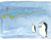 Northern Lights -Christmas Card,Original Illustration,Watercolor,A6 - BlueWhaleStudio