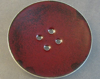 Giant Sterling and Enamel Button brooch
