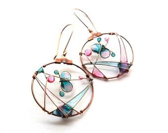 Mint pink butterfly earrings, spring jewelry, dangle pastel earrings