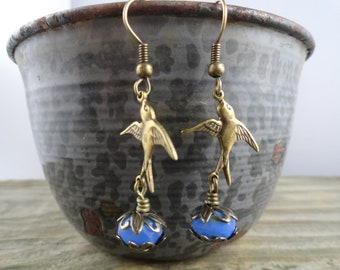 Antique bronze bird earrings with periwinkle Czech glass beads