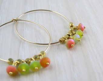 Gold filled hoop earrings with sherbet colored Czech glass beads