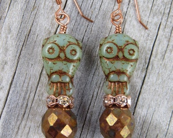 Owl earrings, boho earrings, beaded earrings, dangle earrings, hippie earrings, cottage chic, copper earrings